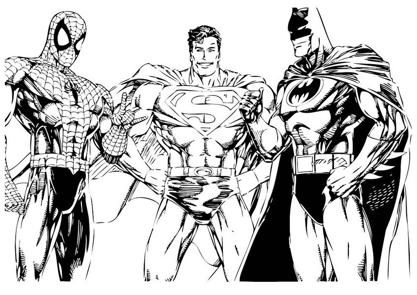Spiderman Batman Superman Coloring Pages