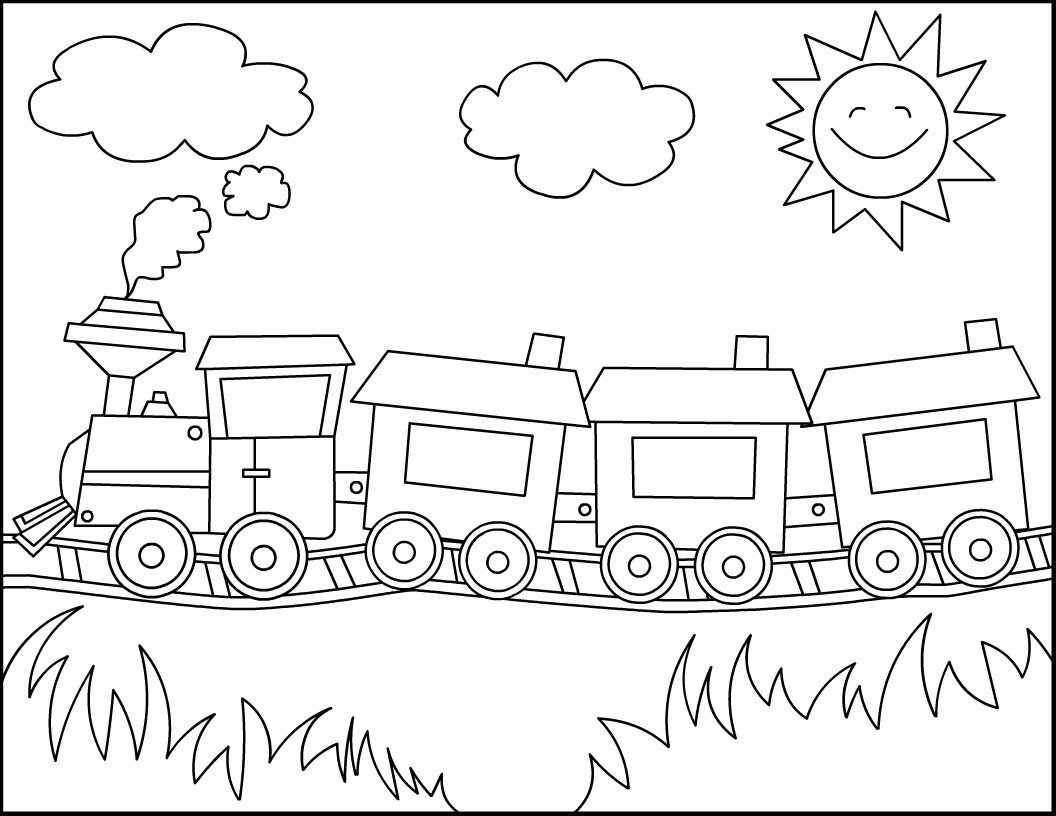 Free printable train coloring pages for kids for Coloring page of a train