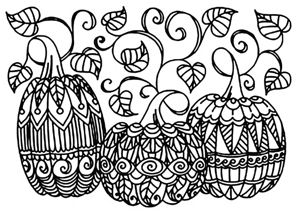 Three Pumpkins Coloring Page For Adults