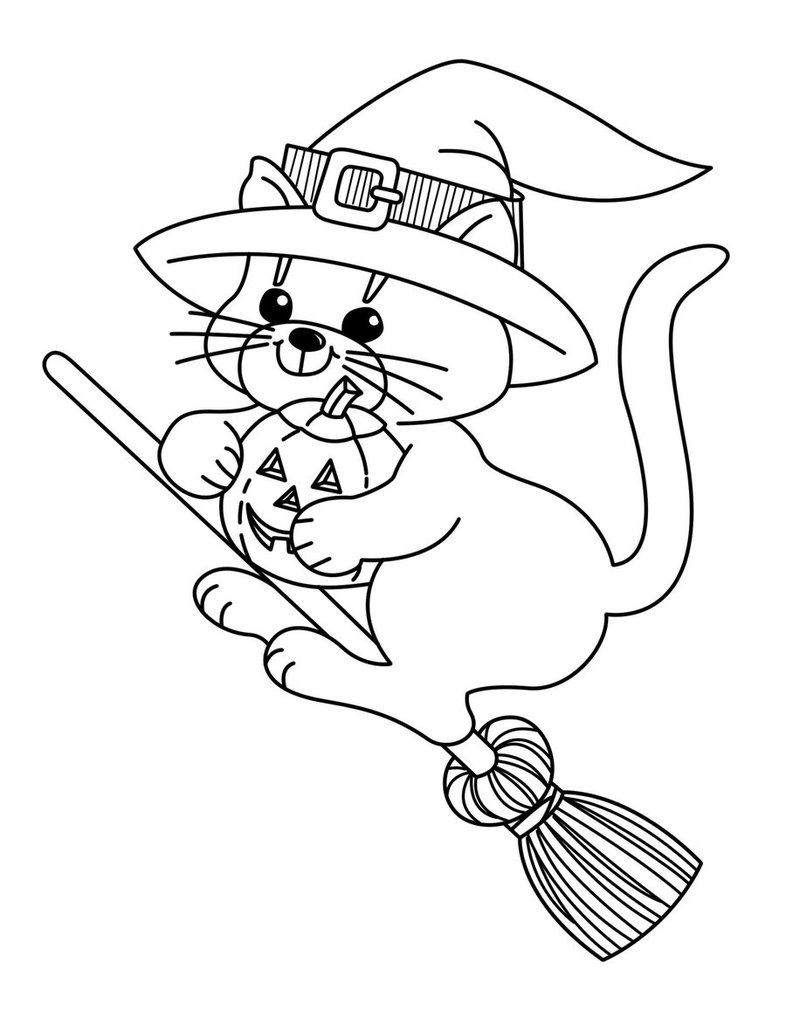 Witch Cat Halloween Coloring Pages