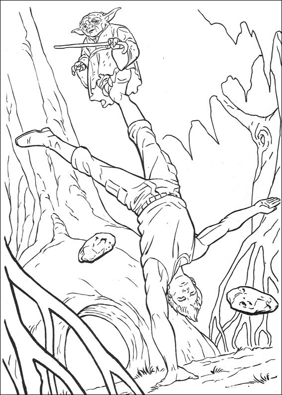 Yoda Training Luke in the Swamp - Star Wars Coloring Pages