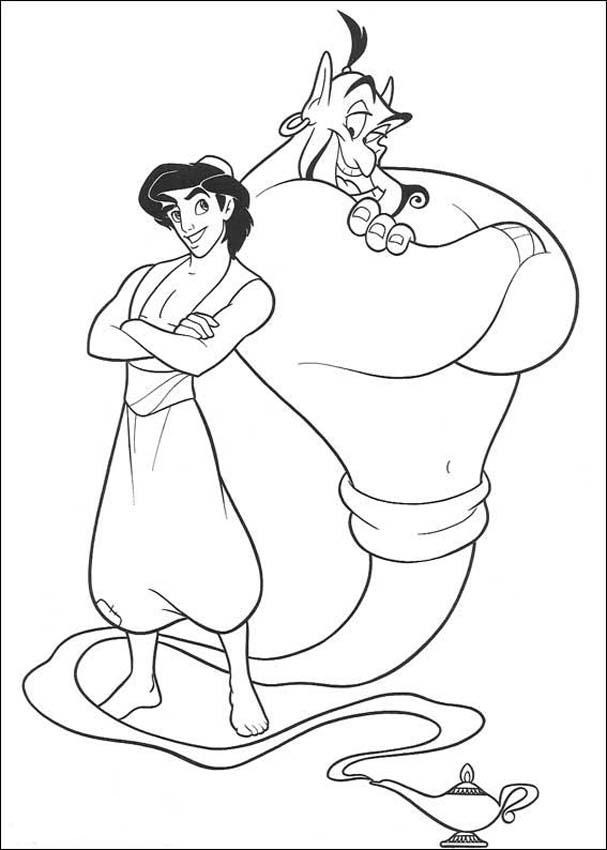 Aladdin and The Genie Coloring Pages