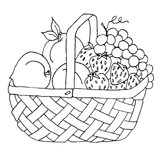 Basket of Fruit Coloring Page