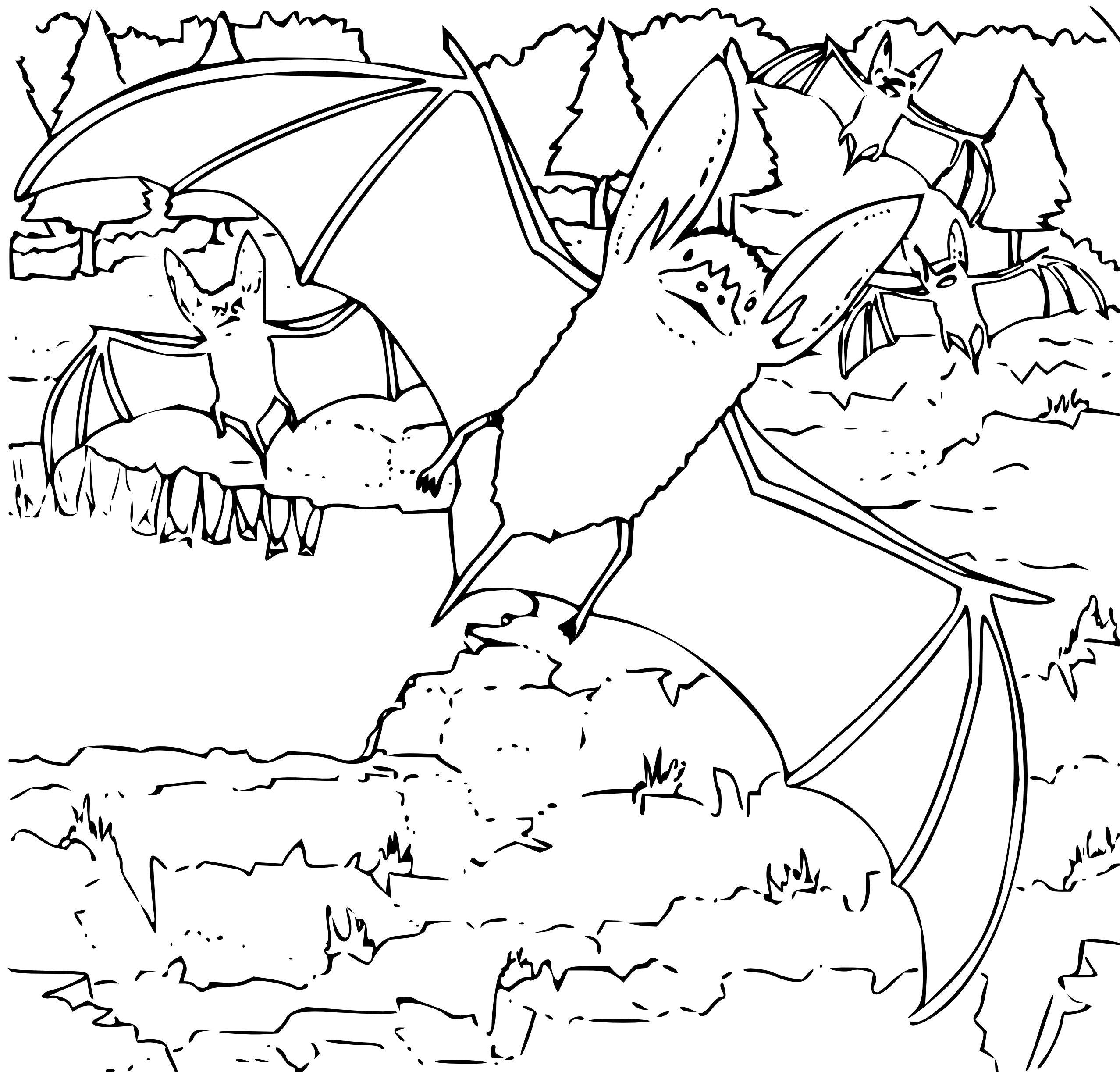This is a graphic of Unusual Bats Coloring Pages