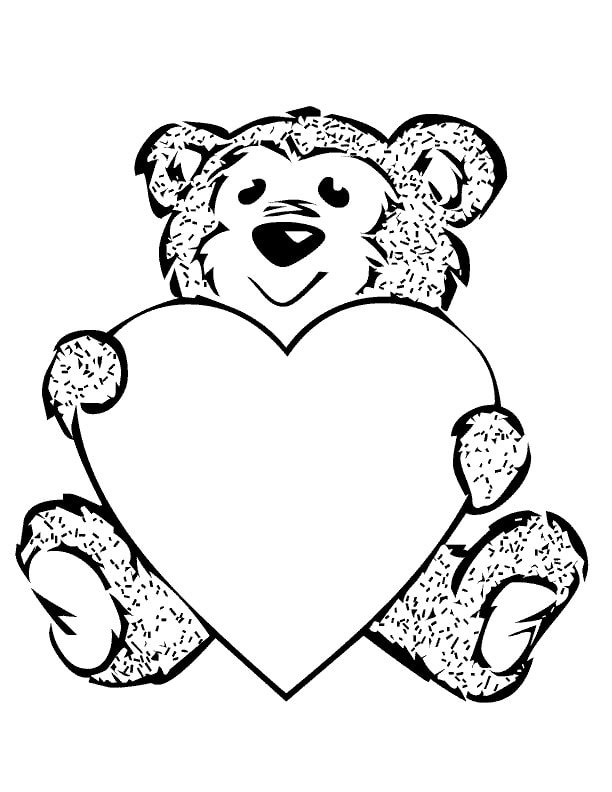 Bear With Heart Coloring Page