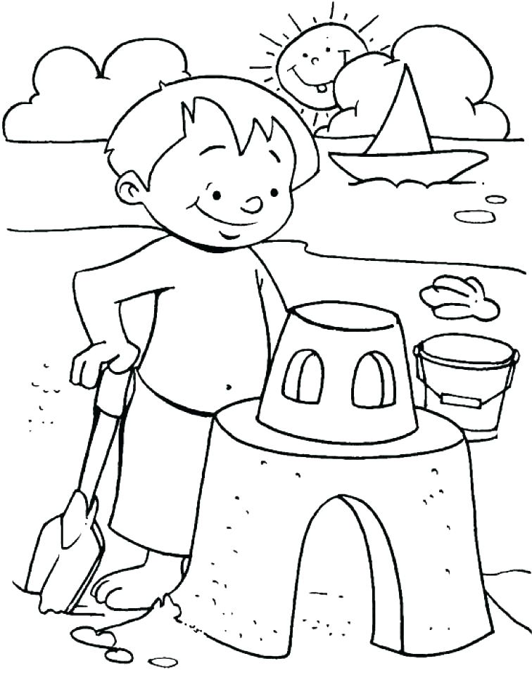 Building Beach Castles Coloring Page