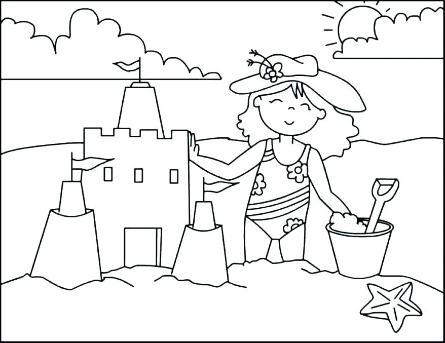 Building Sandcastle Beach Coloring Page