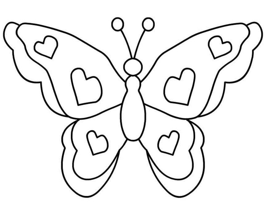 Butterfly With Hearts Coloring Page