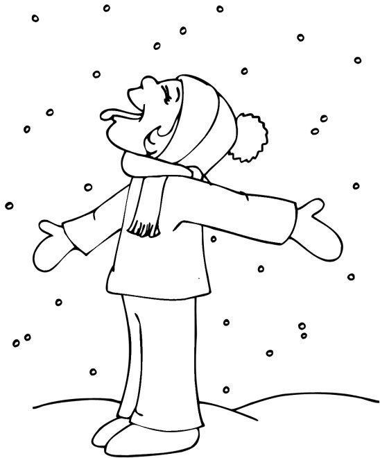 Catching Snowflake Coloring Page