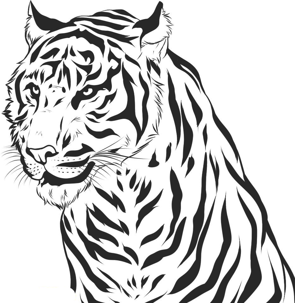 Line Art Tiger : Free printable tiger coloring pages for kids
