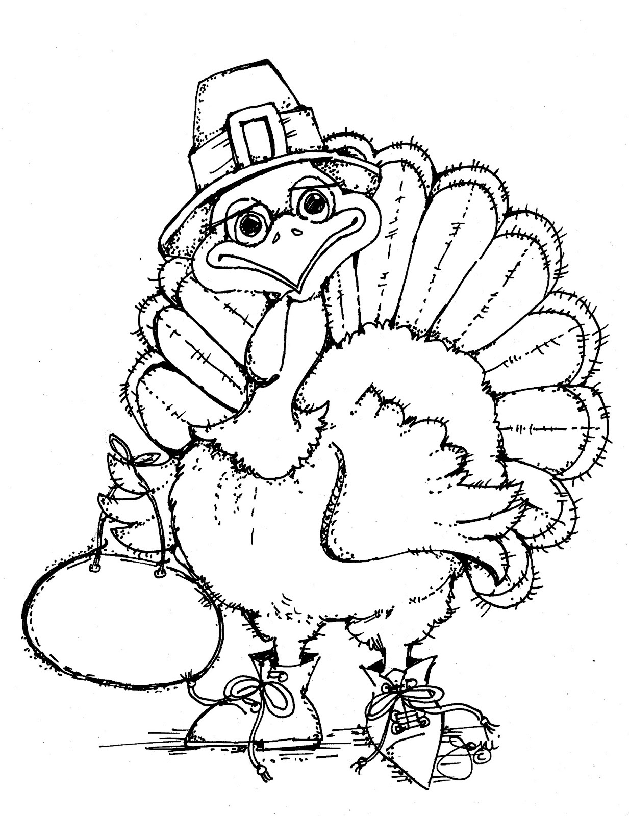 Free Printable Turkey Coloring Pages For Kids - Coloring Pages | 1600x1233