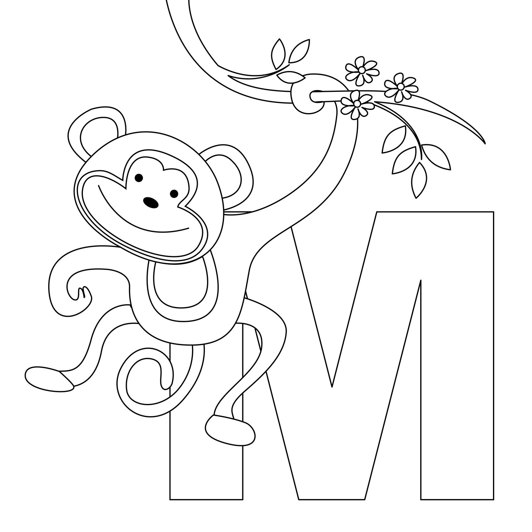 Free printable monkey coloring pages for kids Coloring book for kid free download