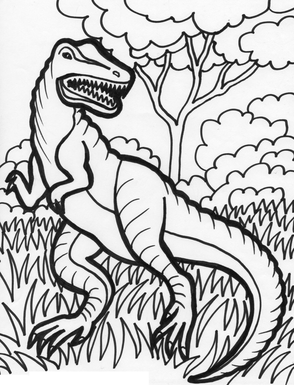 Cute Cartoon Dinosaur coloring page | Free Printable Coloring Pages | 1310x1000