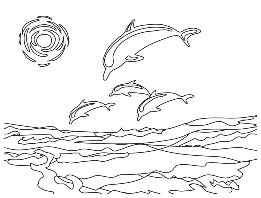 Free printable dolphin coloring pages for kids for Photo to coloring page