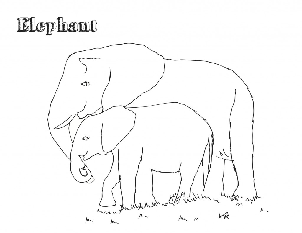 E is For Elephant Coloring Page