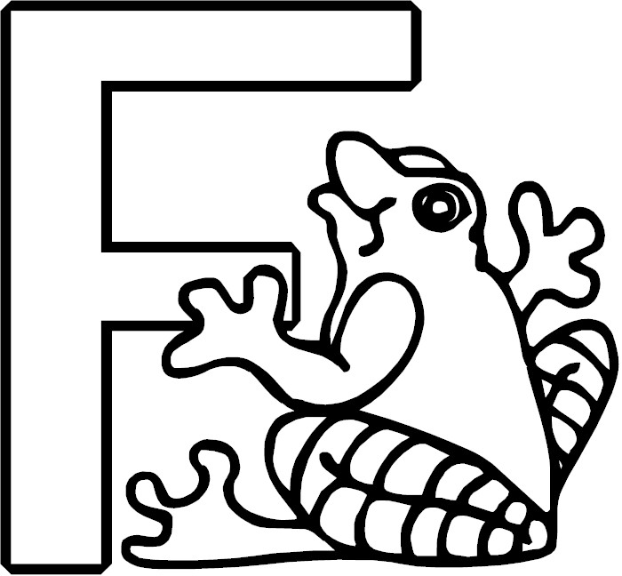 F For Frog Coloring Sheet