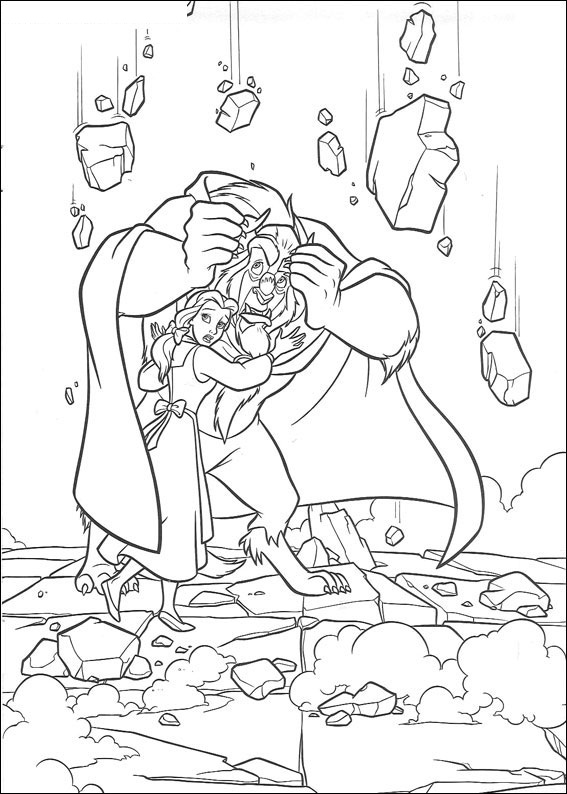 Free Beauty and The Beast Coloring Page