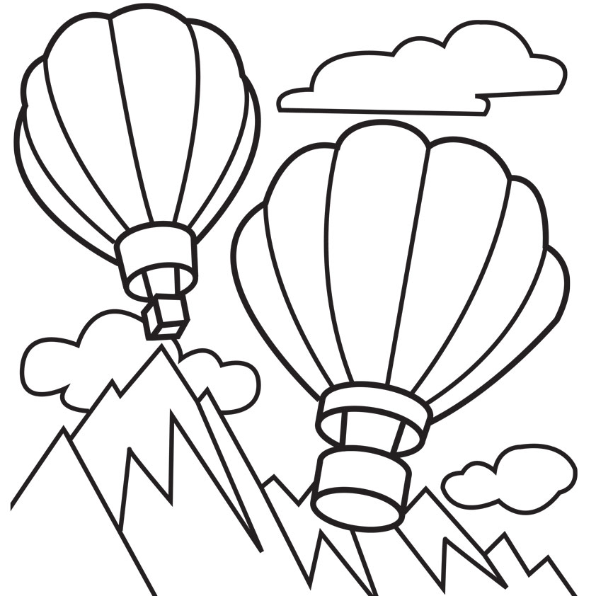 New Free Printable Hot Air Balloon Coloring Pages For Kids TE11