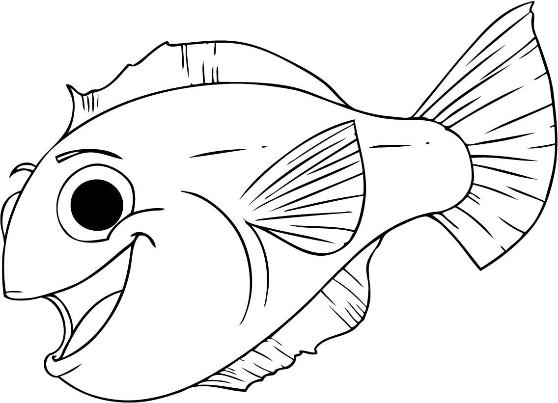 Free printable fish coloring pages for kids for Free printable cartoon coloring pages