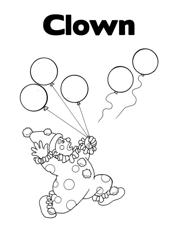 Free Printables Clown Coloring Pages