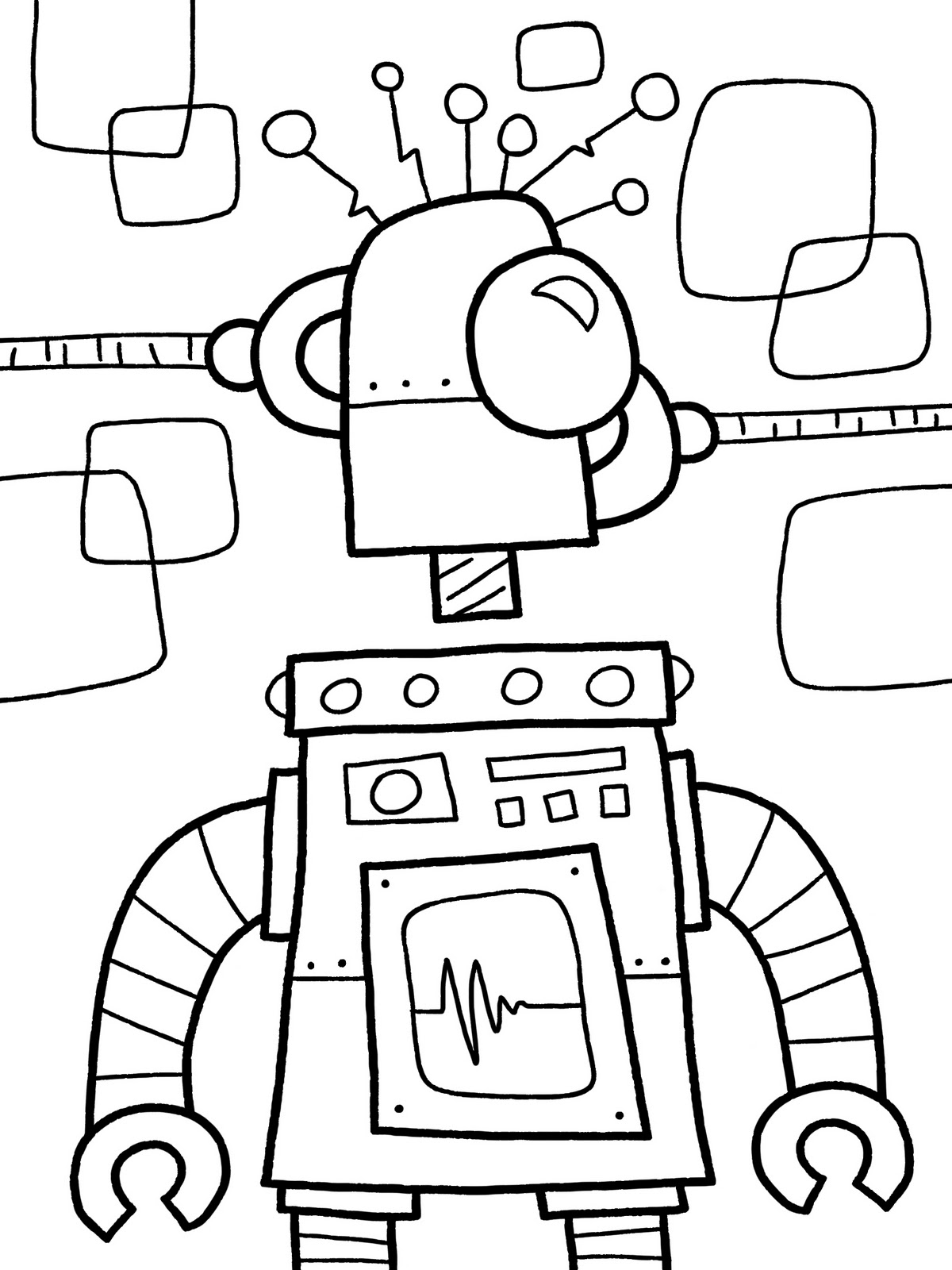 free robot coloring pages