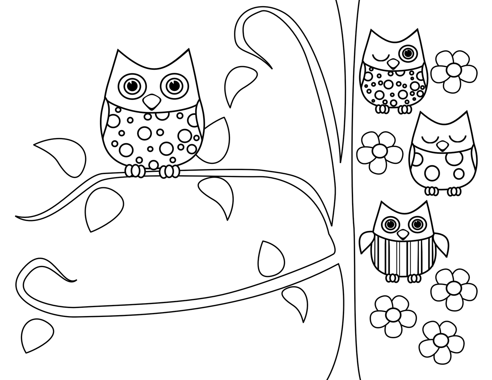 Fun Owls Coloring Pages