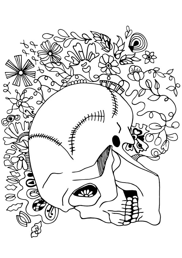 Funky Skull Coloring Page
