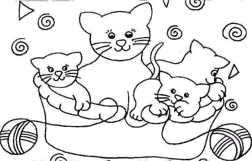 Funny Cats Coloring Pages Cute
