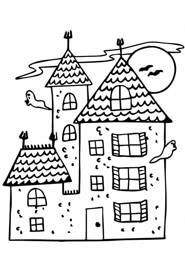 Ghosts In Haunted House Coloring Page