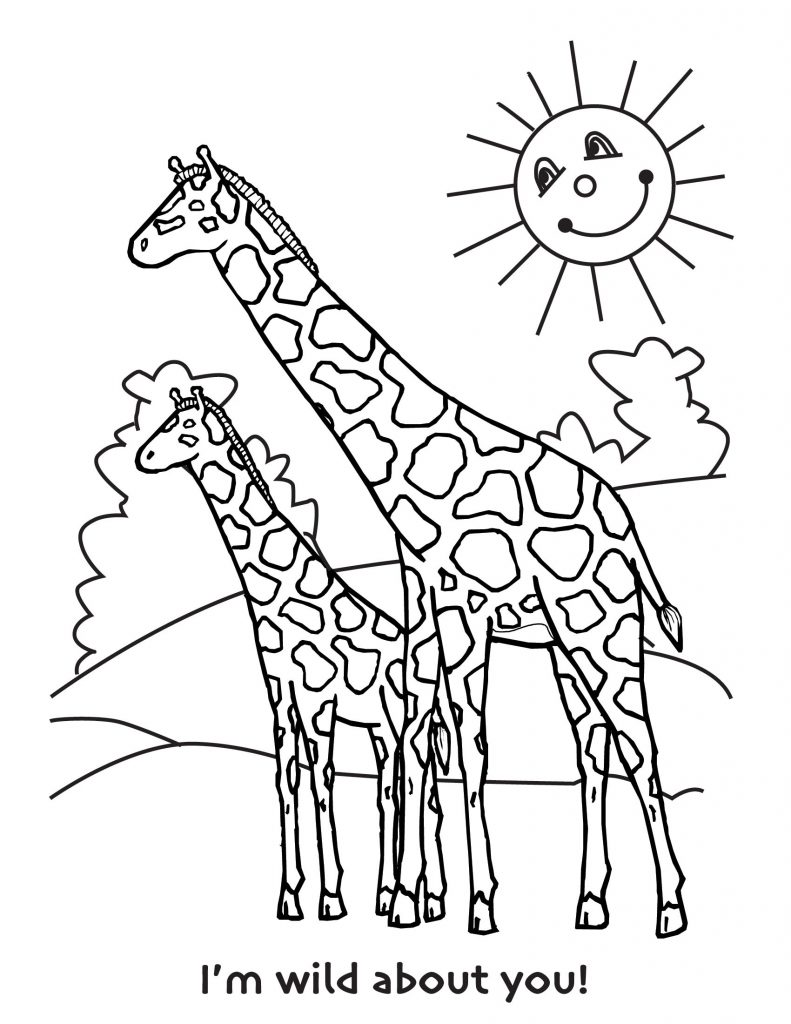 Giraffes - Free Colouring Pages