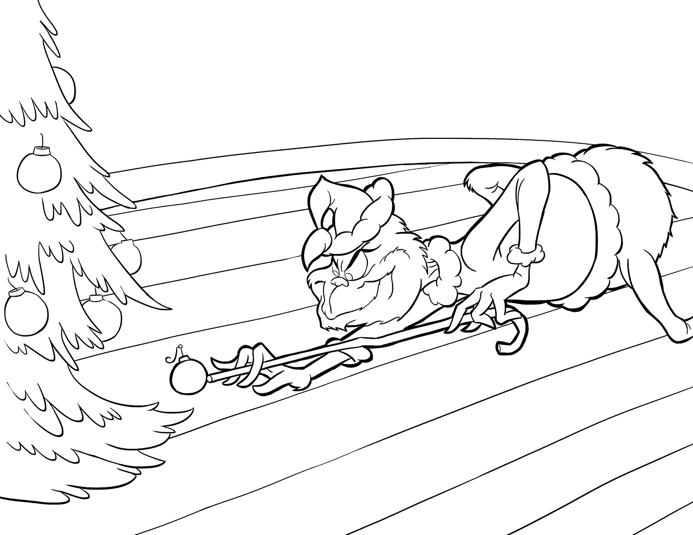 Grinch Playing Pool With Ornament Coloring Page