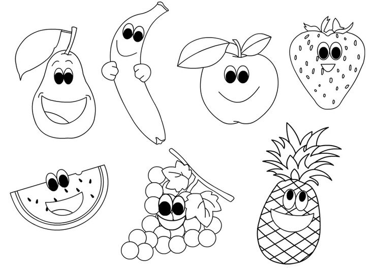 Happy Fruit Coloring Page