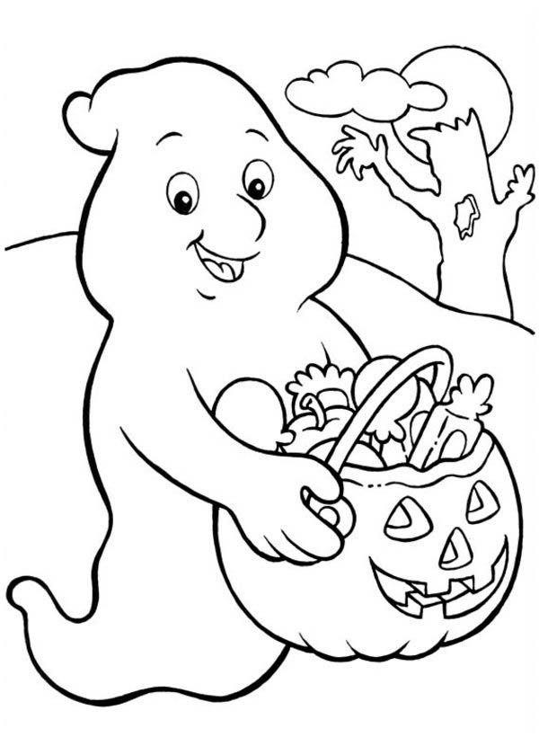 Happy Ghost Coloring Page