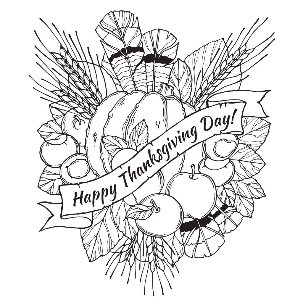 Happy Thanksgiving Harvest Arrangement Coloring Page