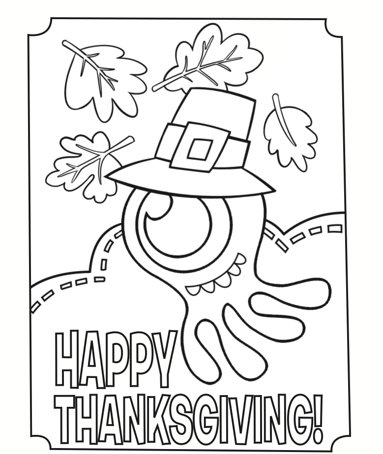 Happy Thanksgiving Pilgrim Squid Coloring Page