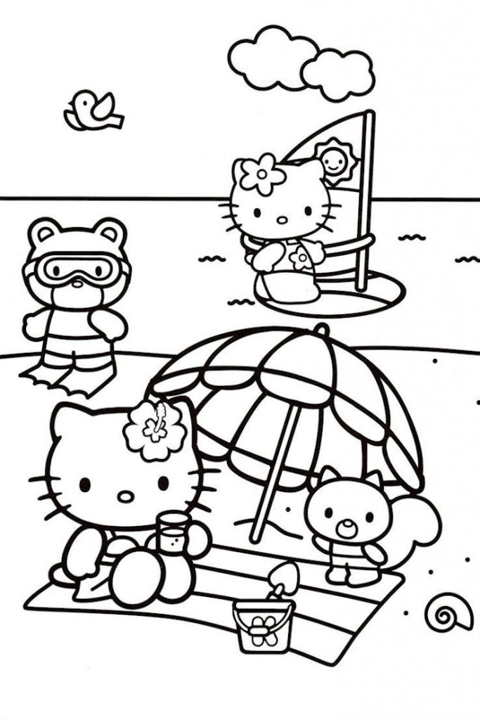 Hello Kitty Beach Coloring Pages