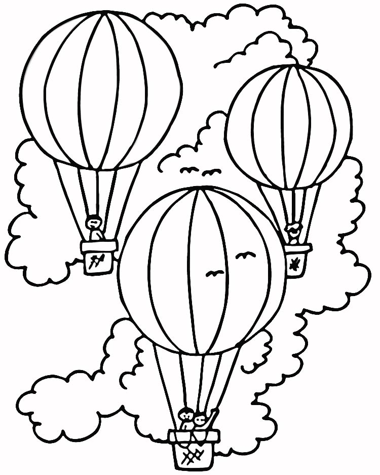 Hot Air Balloon Coloring Page Images