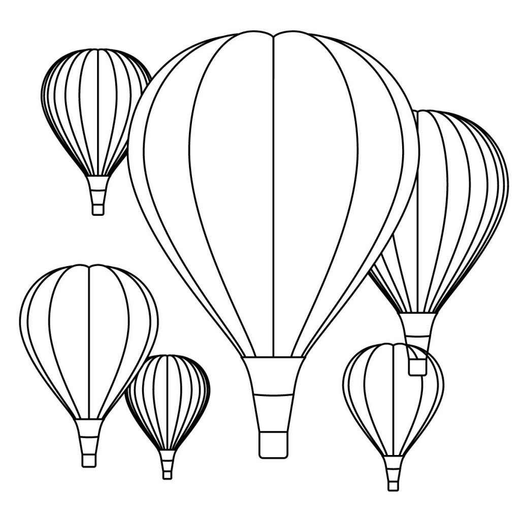 Hot Air Balloons Coloring Page