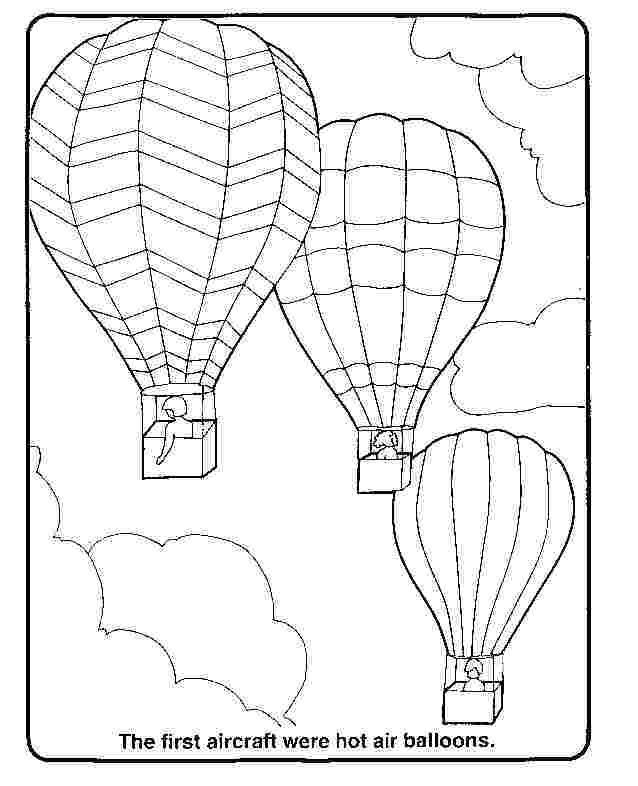 Hot Air Balloons Coloring Pages For Kids
