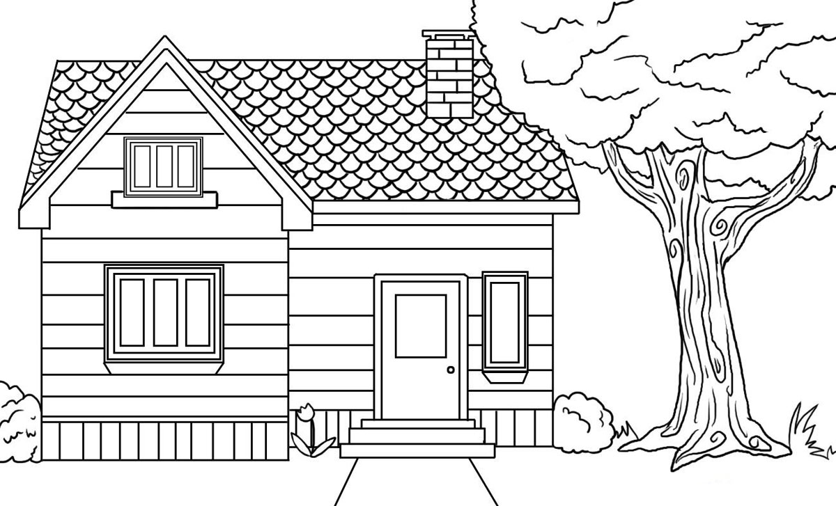 Free printable house coloring pages for kids for How to draw a two story house step by step