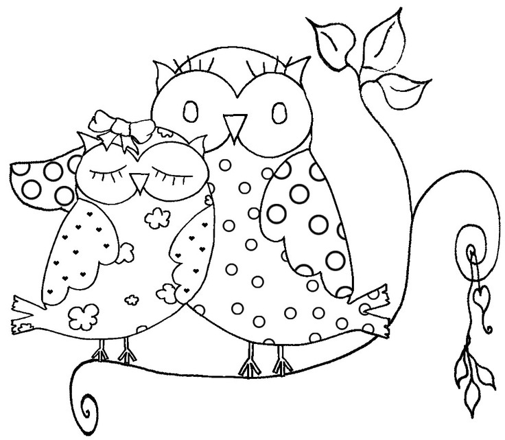 Love Owls Coloring Page