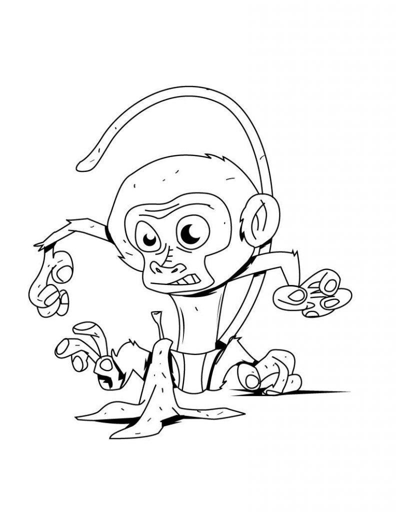 Monkey Coloring Pages For Kids To Print
