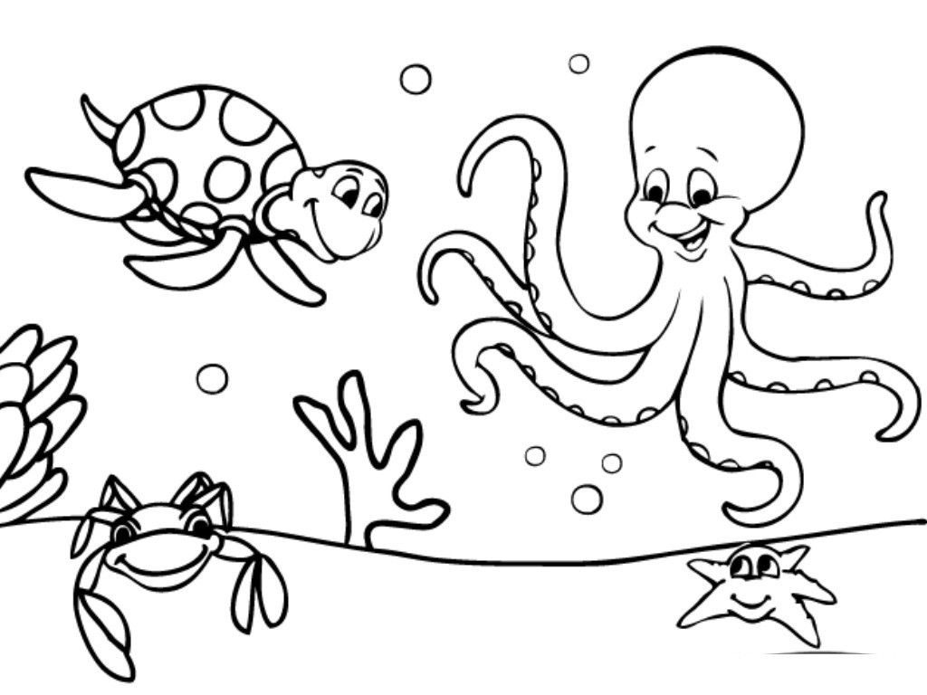 Octopus and Turtle - Ocean Coloring Pages