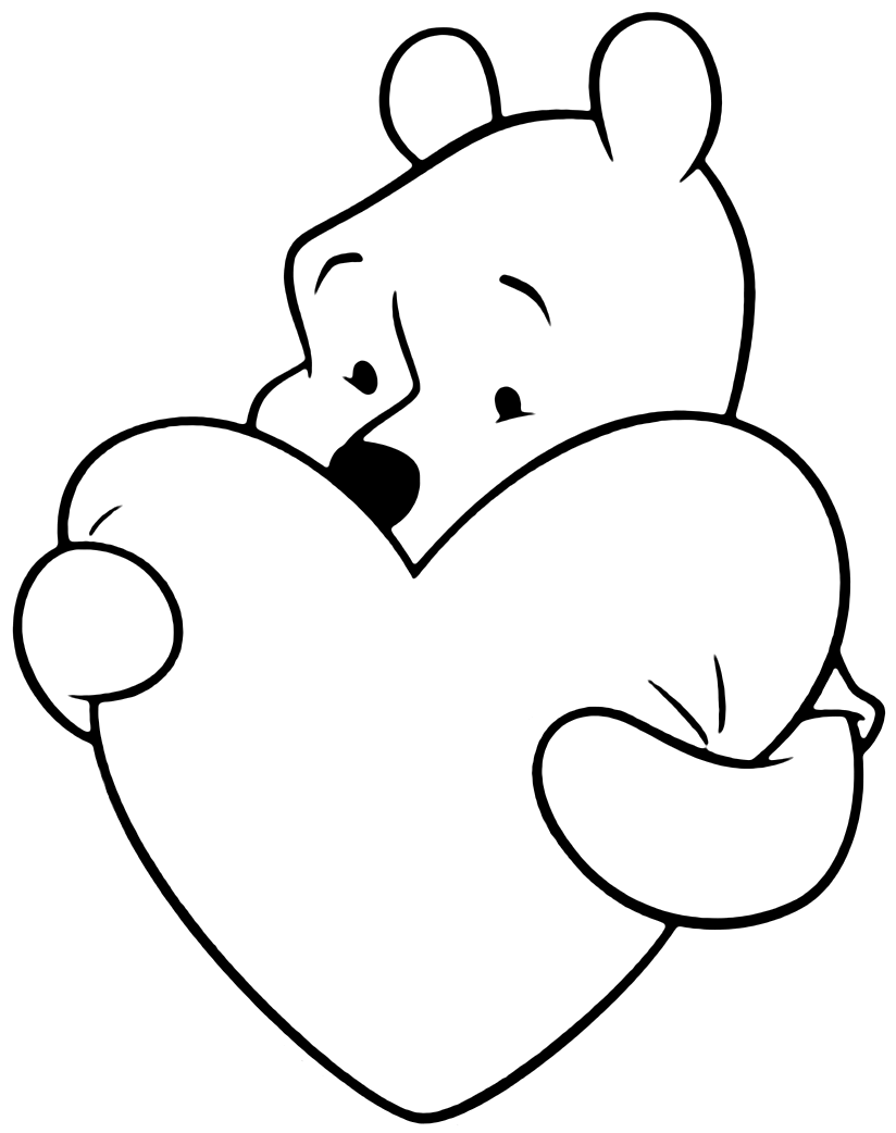 Pooh With Heart Coloring Page