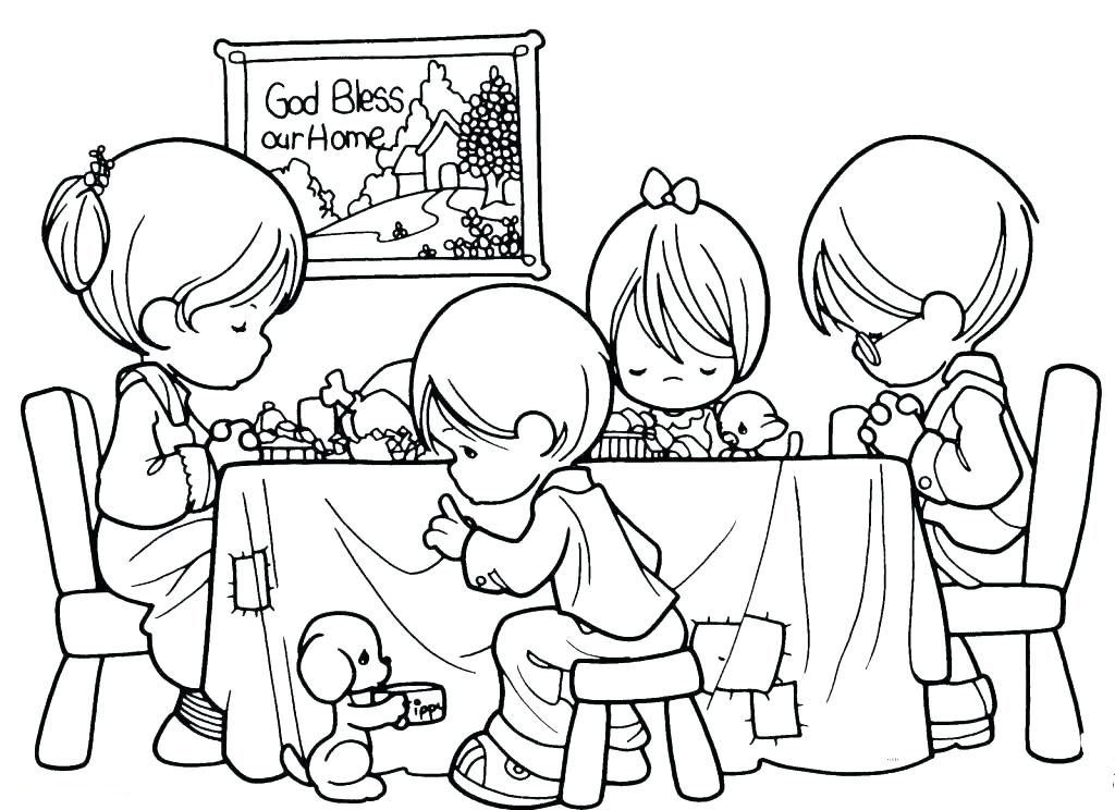 Precious Family Giving Thanks Coloring Page