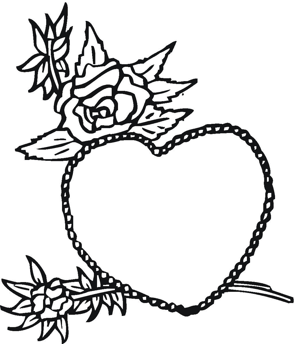 Free printable heart coloring pages for kids for Rose color pages