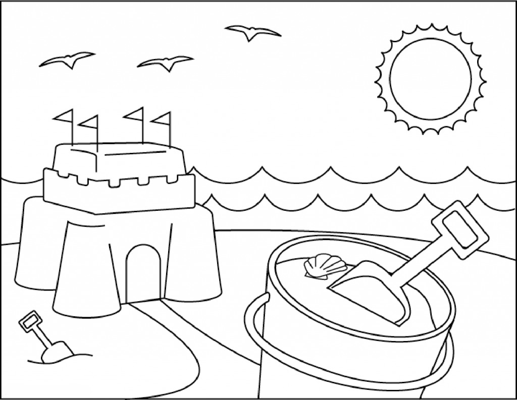 Sandcastle at the Beach Coloring Page