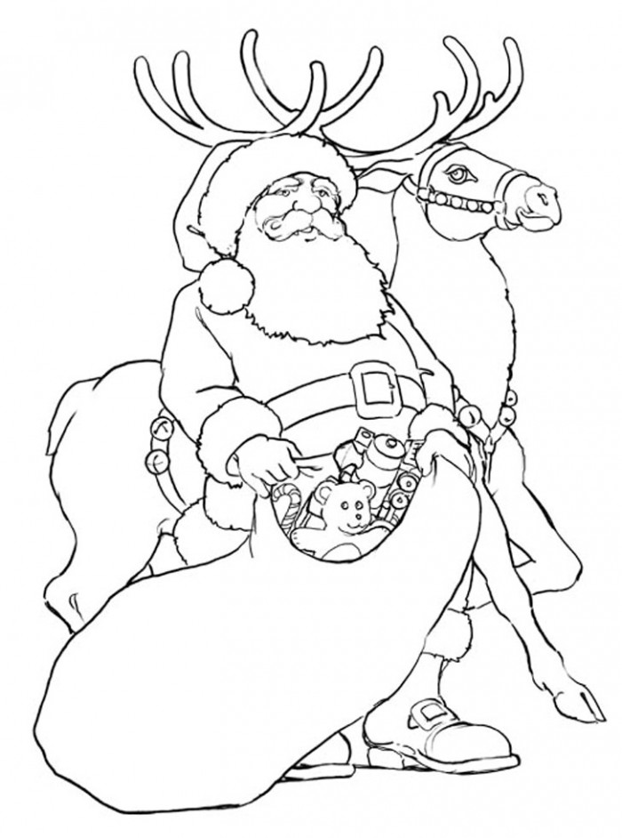 Free printable reindeer coloring pages for kids for Santa and reindeer coloring pages printable