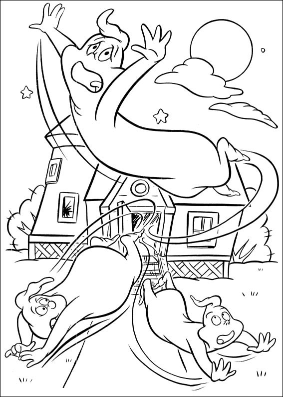Scared Ghosts Coloring Pages