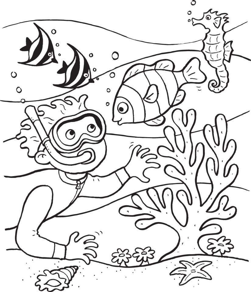 Scuba Diving Ocean Coloring Page